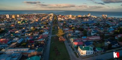 Atardecer en Punta Arenas, visto desde el cielo.